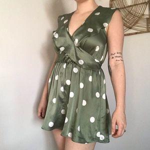 Zara Basic green silky polka dot ruffle romper